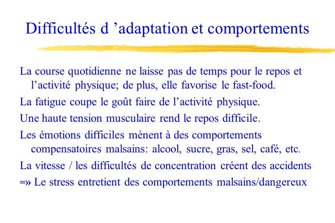 Difficultés d 'adaptation et comportements