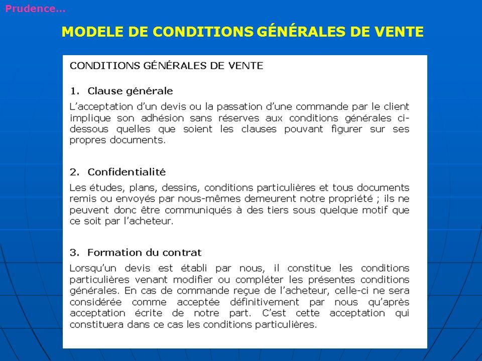 MODELE DE CONDITIONS GÉNÉRALES DE VENTE