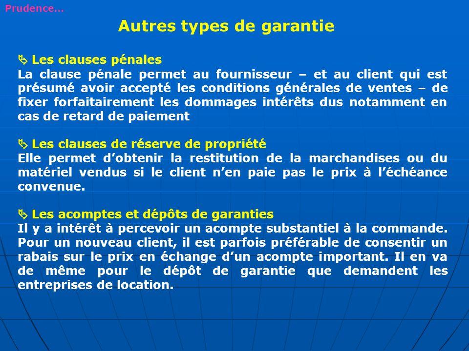 Autres types de garantie