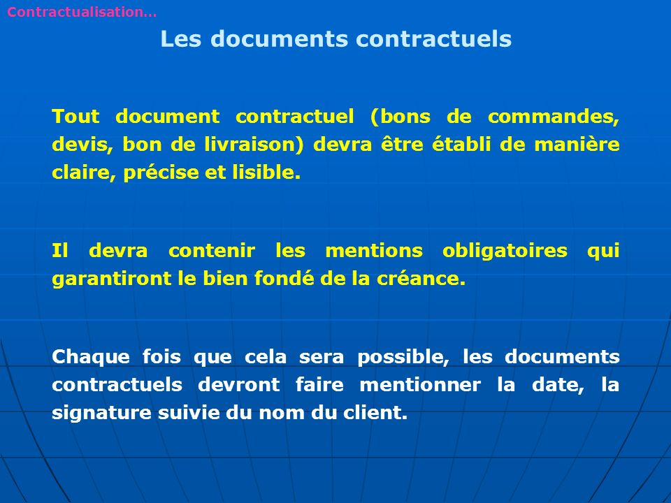 Les documents contractuels