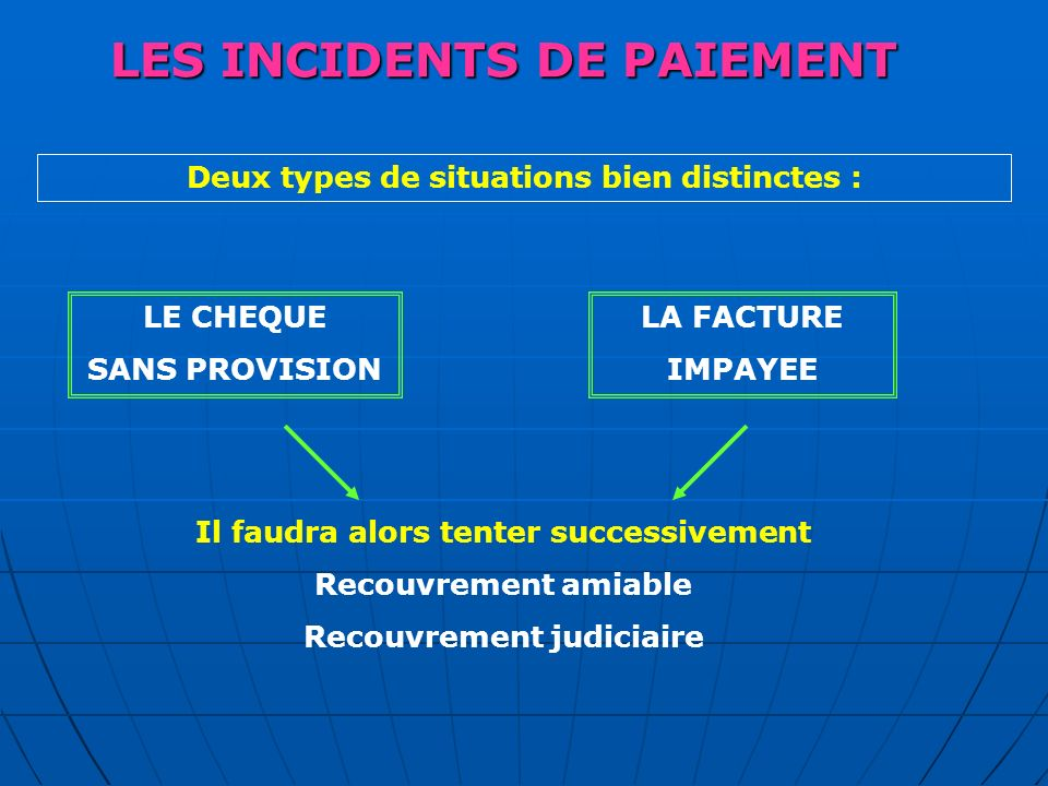 LES INCIDENTS DE PAIEMENT