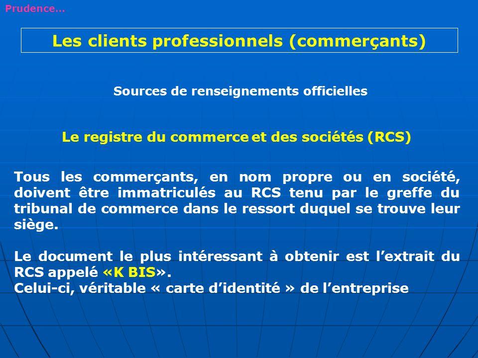 Les clients professionnels (commerçants)