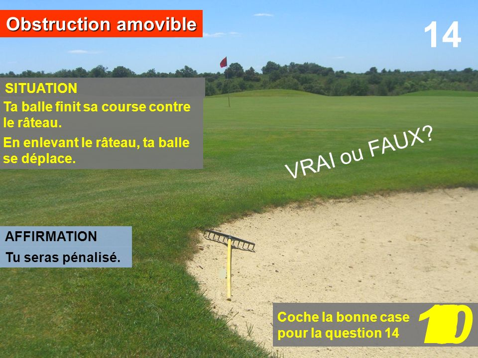 10 1 2 6 7 8 3 5 4 9 14 VRAI ou FAUX Obstruction amovible SITUATION