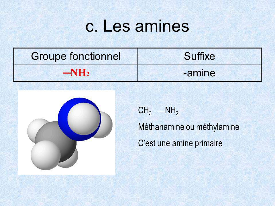 c. Les amines Groupe fonctionnel Suffixe amine CH3  NH2