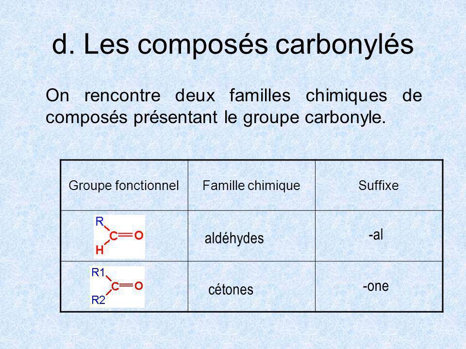 d. Les composés carbonylés