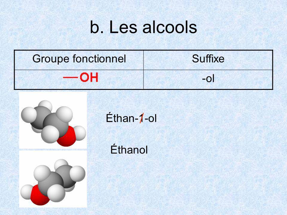 b. Les alcools Groupe fonctionnel Suffixe ol  Éthan-1-ol Éthanol