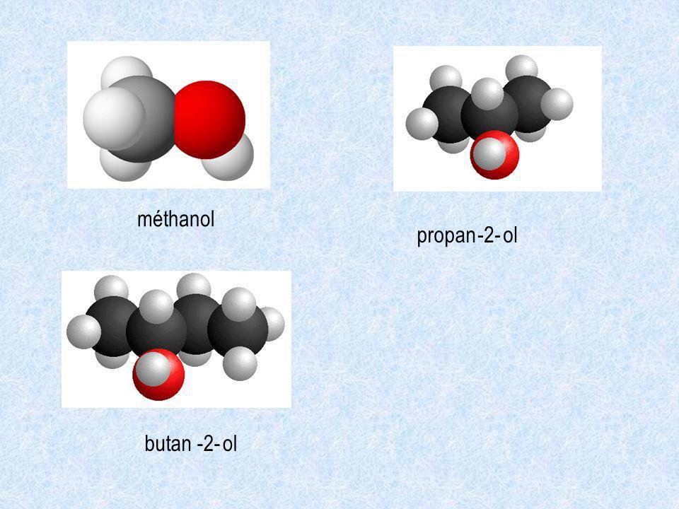 méthanol propan -2- ol butan -2- ol