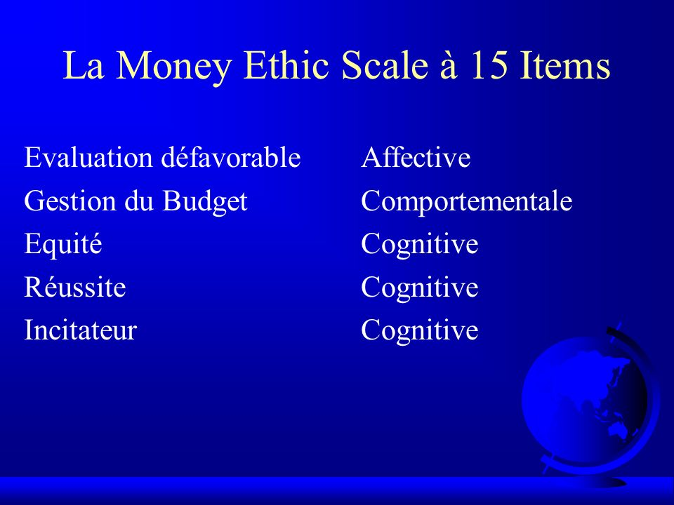 La Money Ethic Scale à 15 Items