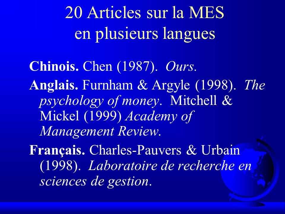 20 Articles sur la MES en plusieurs langues