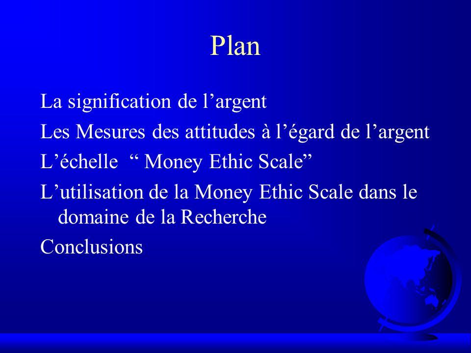 Plan La signification de l'argent