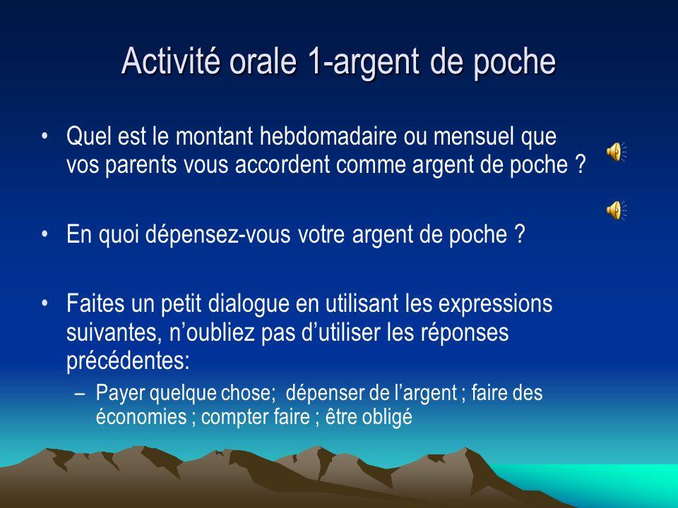 Activité orale 1-argent de poche