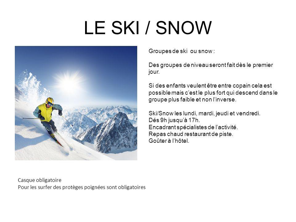 LE SKI / SNOW Groupes de ski ou snow :