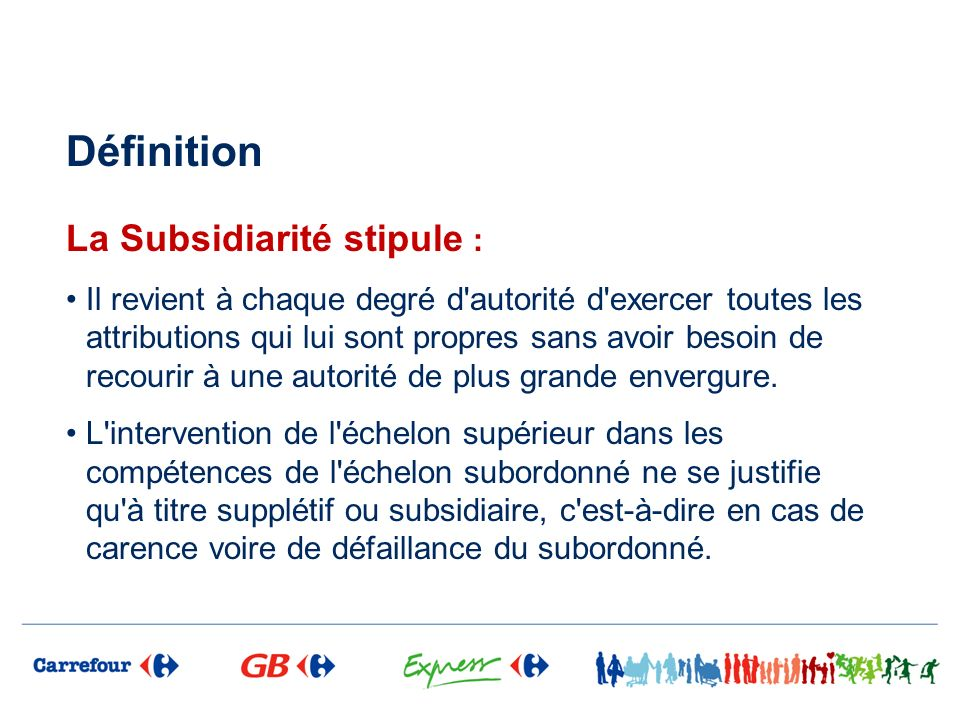 Définition La Subsidiarité stipule :