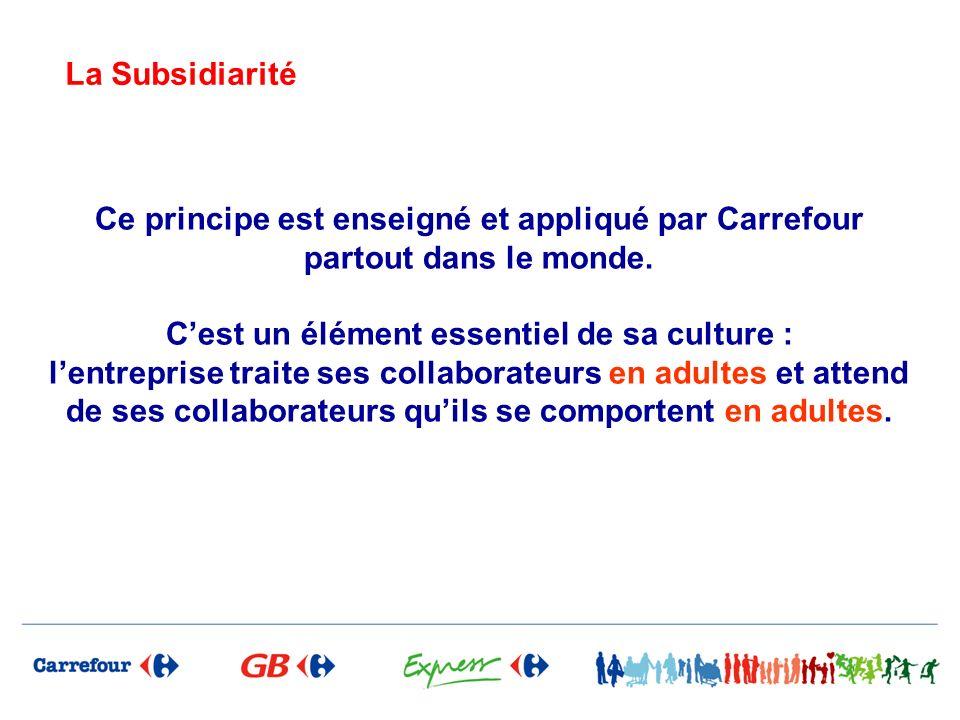 La Subsidiarité Ce principe est enseigné et appliqué par Carrefour partout dans le monde.