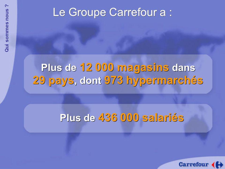 Plus de 12 000 magasins dans 29 pays, dont 973 hypermarchés