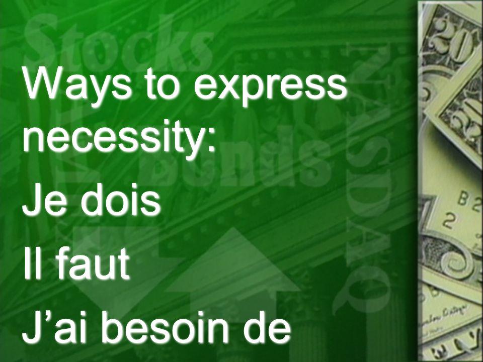 Ways to express necessity: Je dois Il faut J'ai besoin de