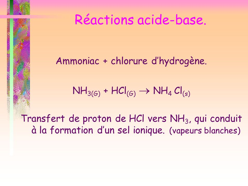Réactions acide-base. Ammoniac + chlorure d'hydrogène.