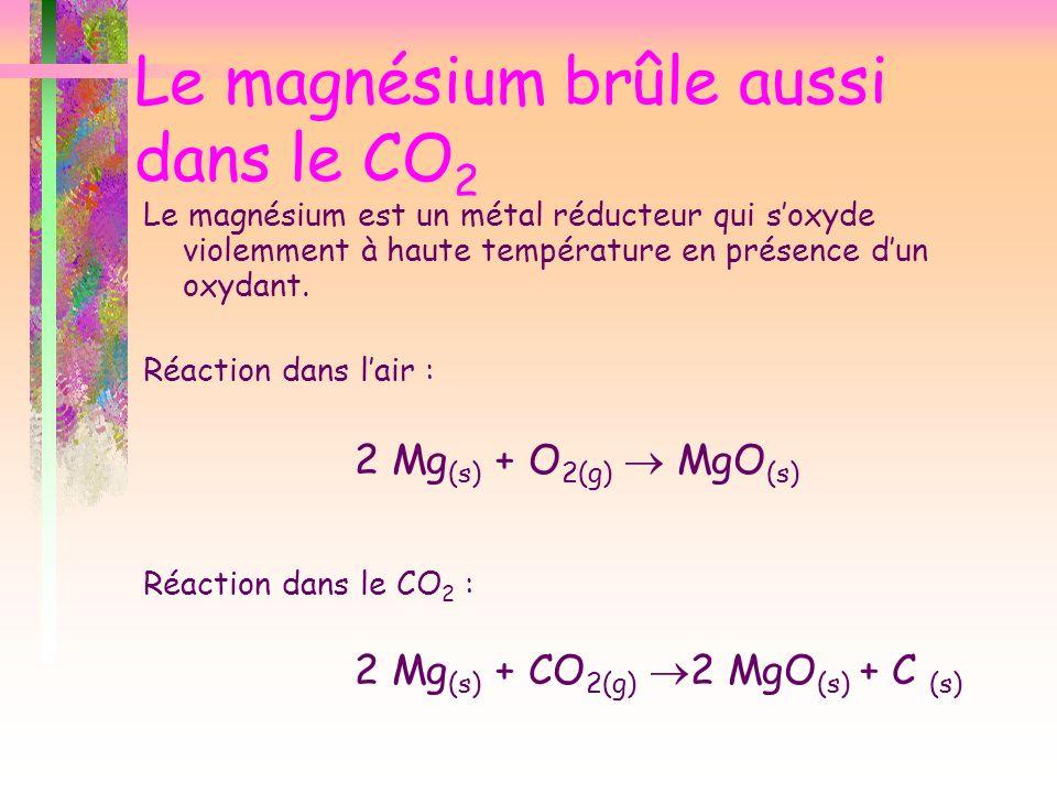 Le magnésium brûle aussi dans le CO2
