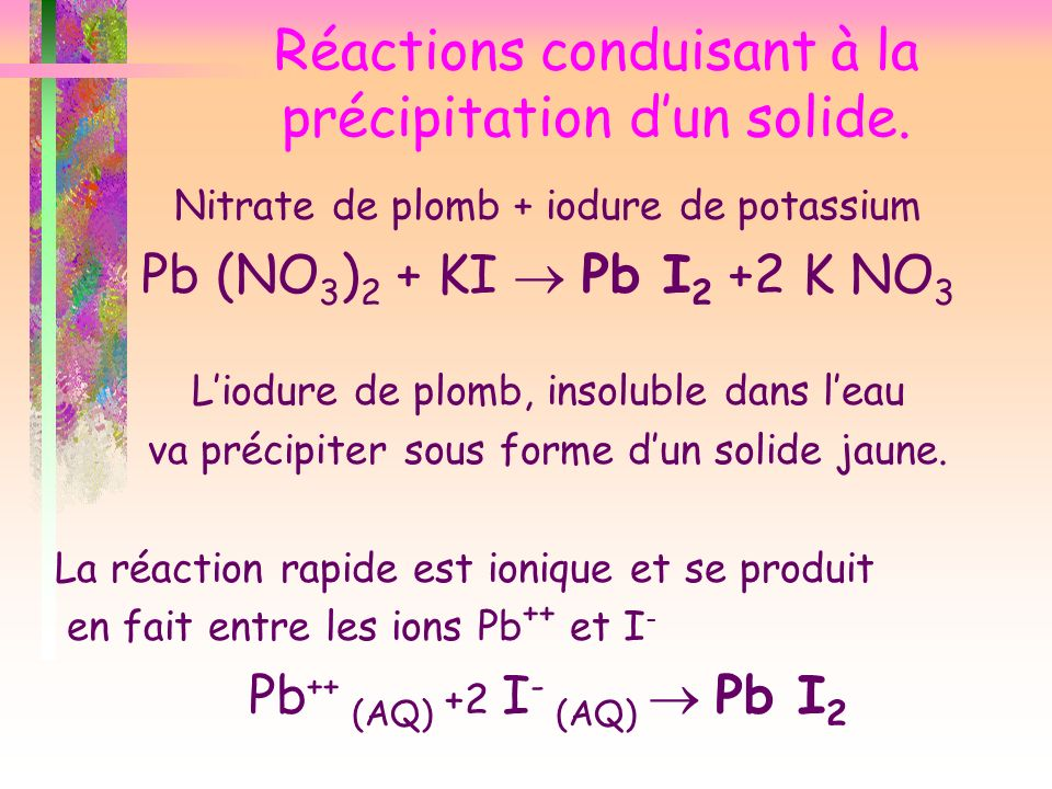 Réactions conduisant à la précipitation d'un solide.