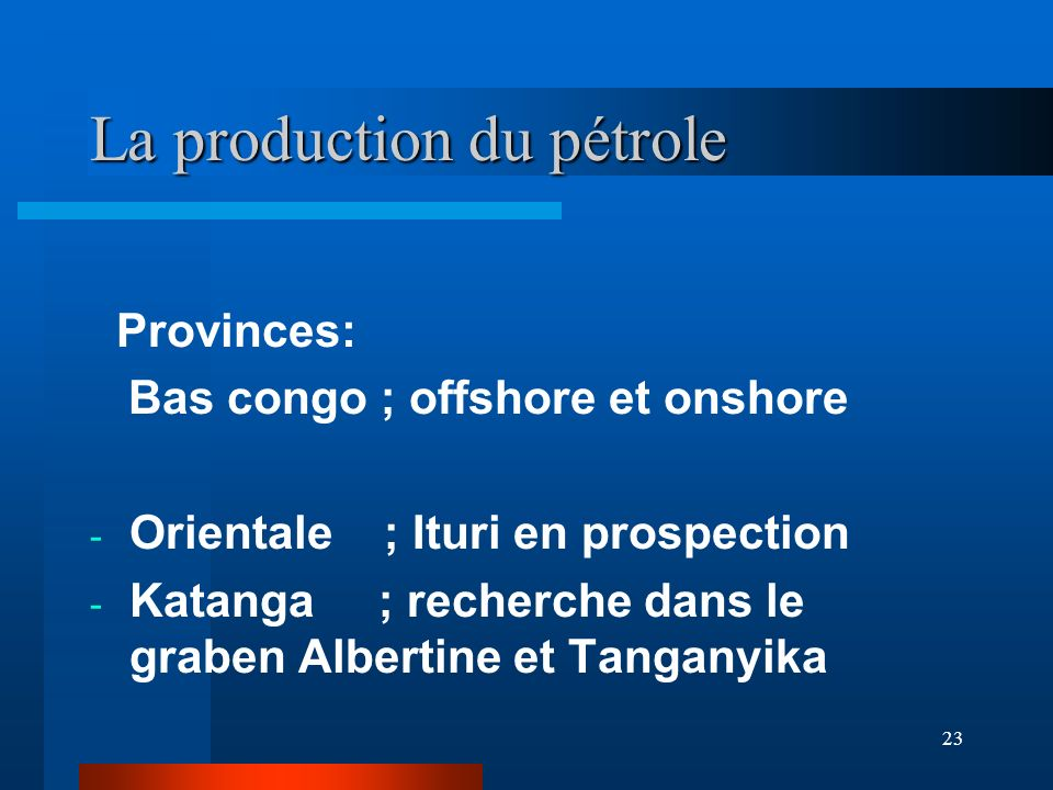 La production du pétrole