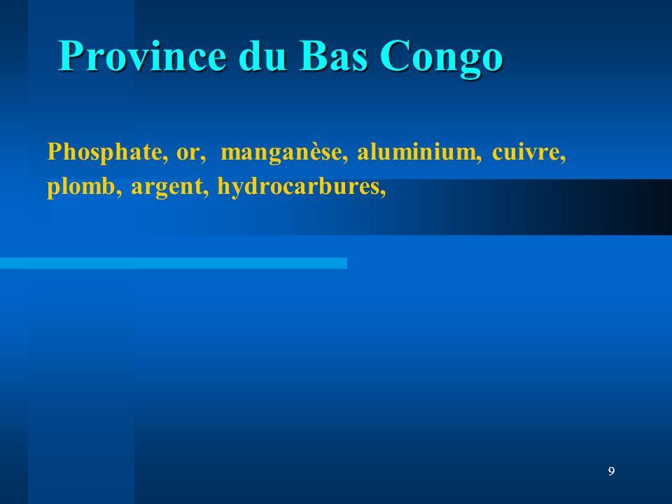 Province du Bas Congo Phosphate, or, manganèse, aluminium, cuivre, plomb, argent, hydrocarbures,
