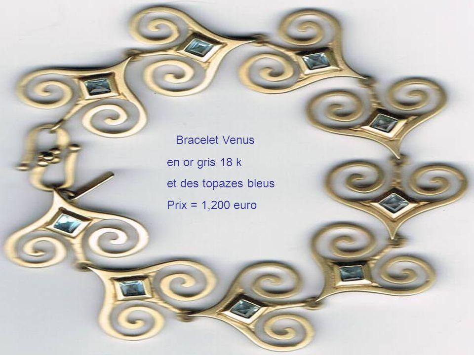 Bracelet Venus en or gris 18 k et des topazes bleus Prix = 1,200 euro