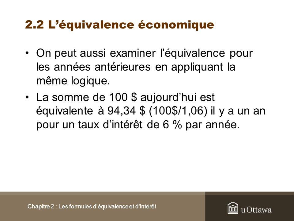 2.2 L'équivalence économique