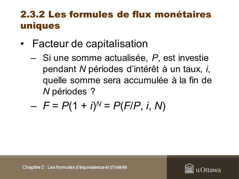 2.3.2 Les formules de flux monétaires uniques
