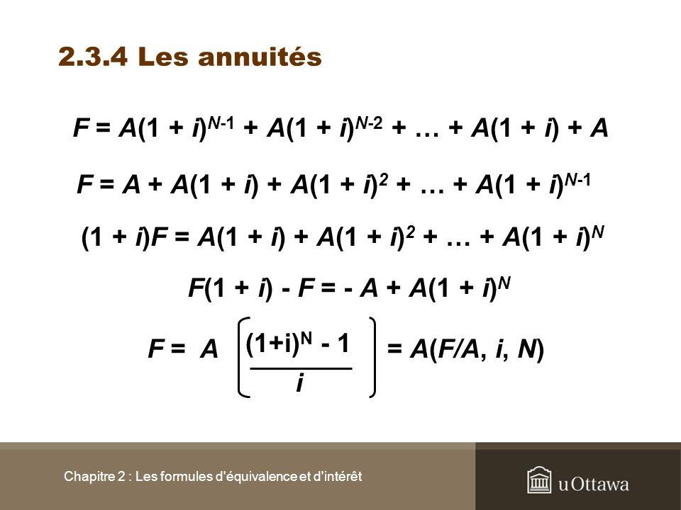 F = A(1 + i)N-1 + A(1 + i)N-2 + … + A(1 + i) + A