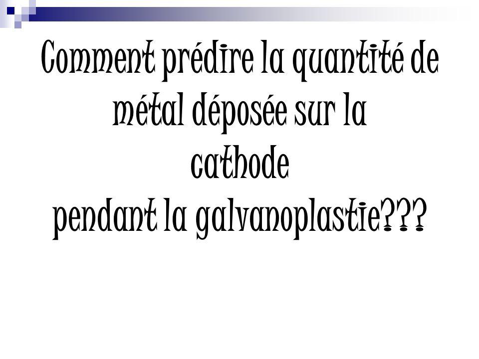 Comment prédire la quantité de métal déposée sur la cathode pendant la galvanoplastie