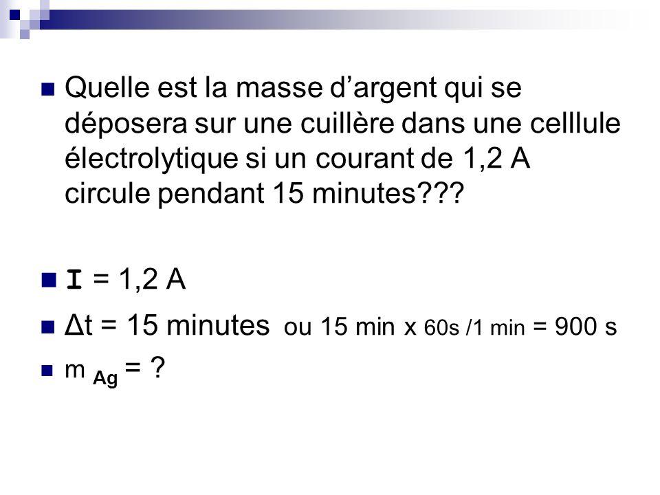 Quelle est la masse d'argent qui se déposera sur une cuillère dans une celllule électrolytique si un courant de 1,2 A circule pendant 15 minutes