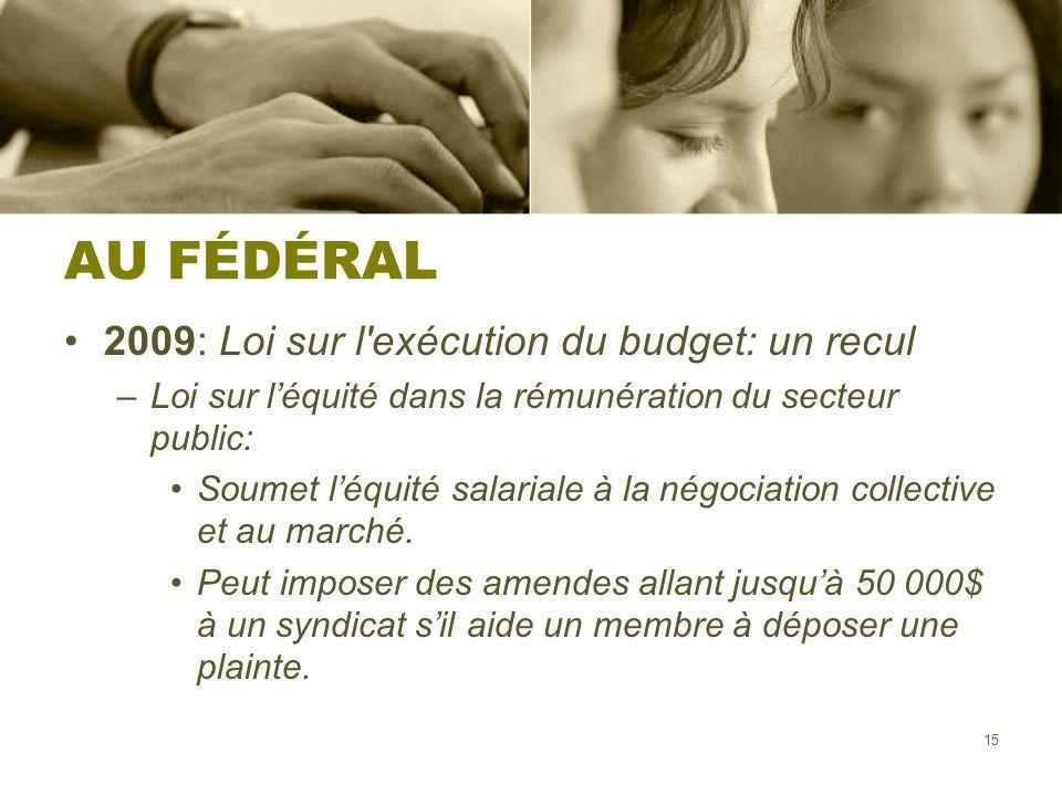 AU FÉDÉRAL 2009: Loi sur l exécution du budget: un recul