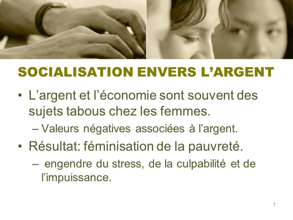 SOCIALISATION ENVERS L'ARGENT