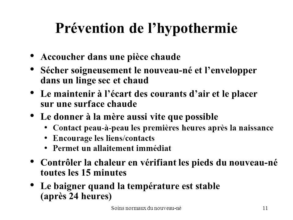 Prévention de l'hypothermie