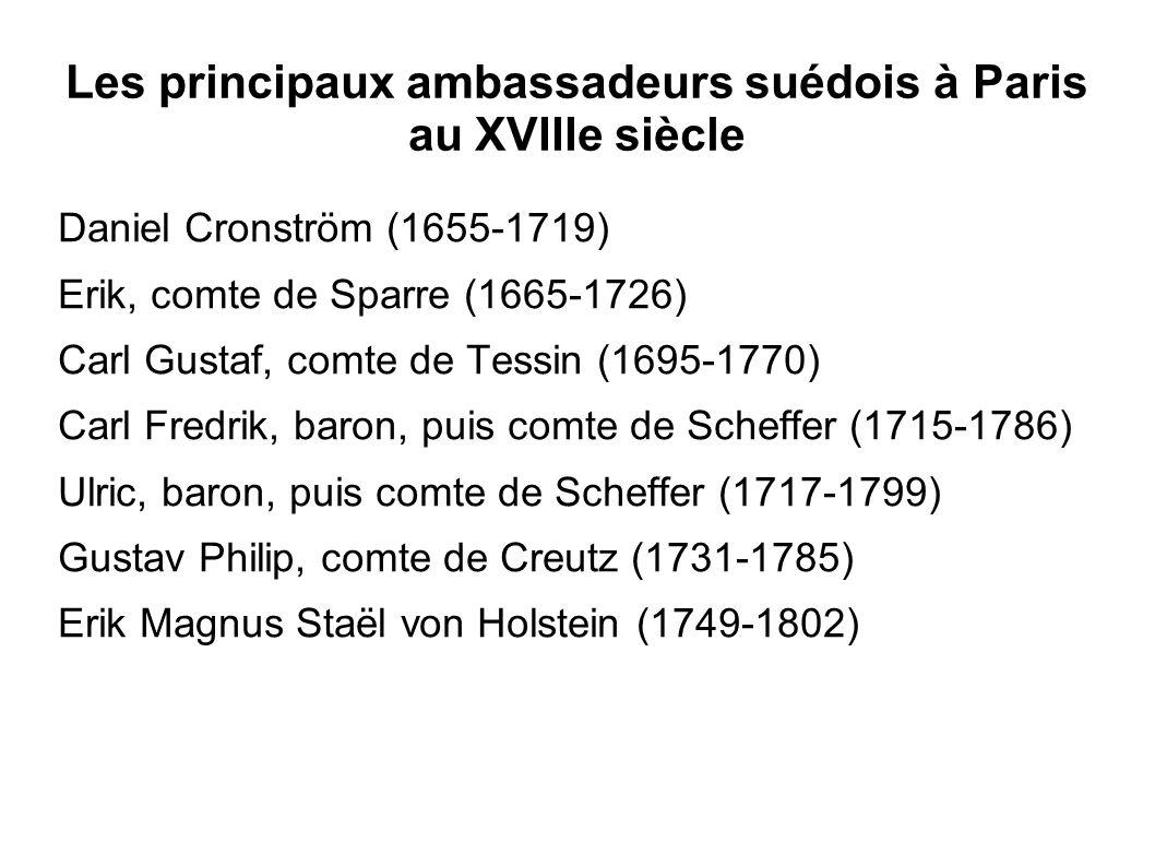 Les principaux ambassadeurs suédois à Paris au XVIIIe siècle