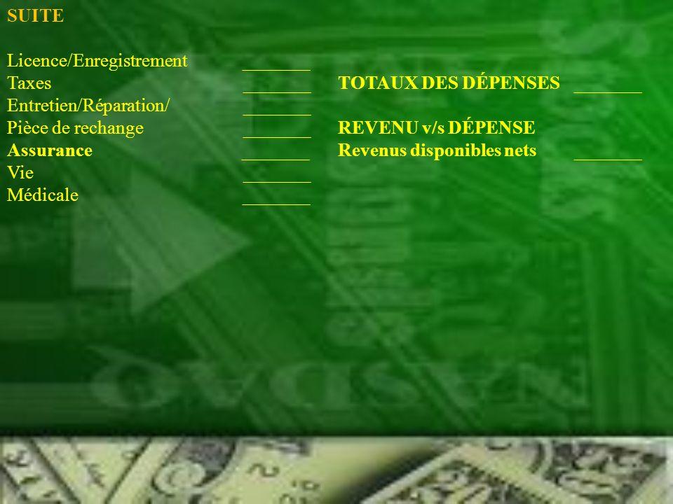 SUITE Licence/Enregistrement _______. Taxes _______ TOTAUX DES DÉPENSES _______.
