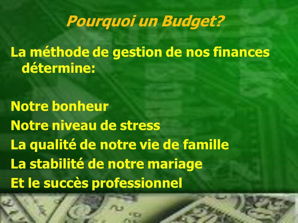 Pourquoi un Budget La méthode de gestion de nos finances détermine:
