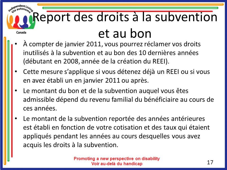 Report des droits à la subvention et au bon