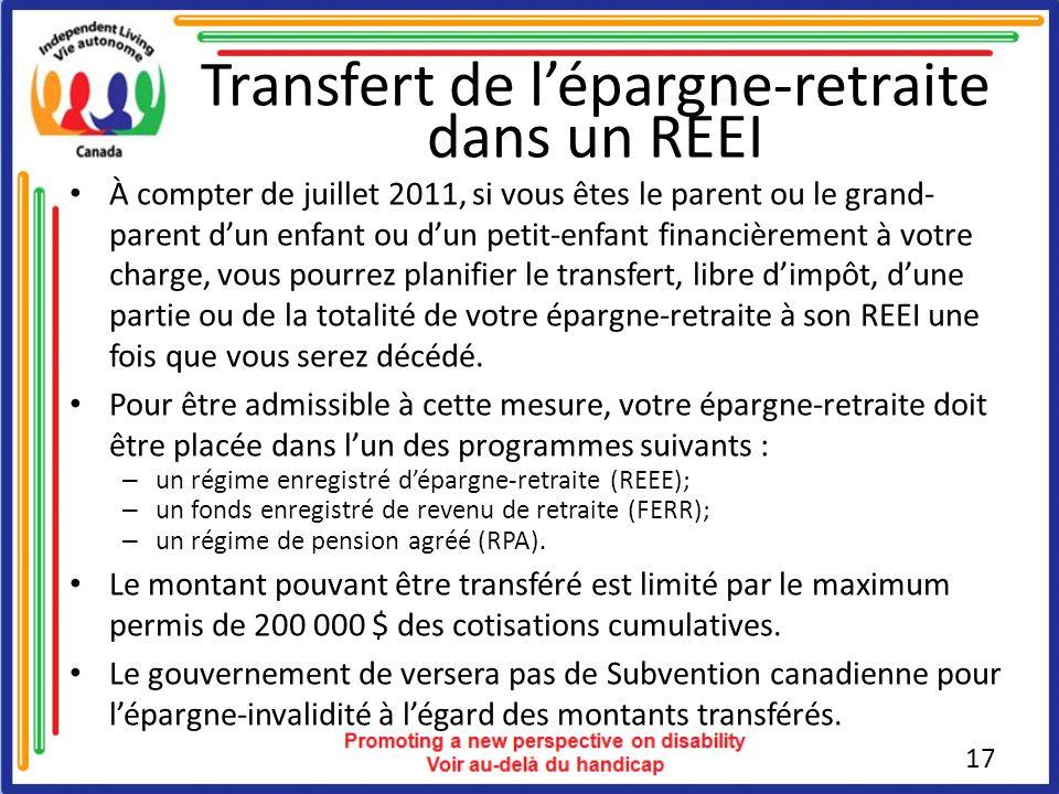 Transfert de l'épargne-retraite dans un REEI