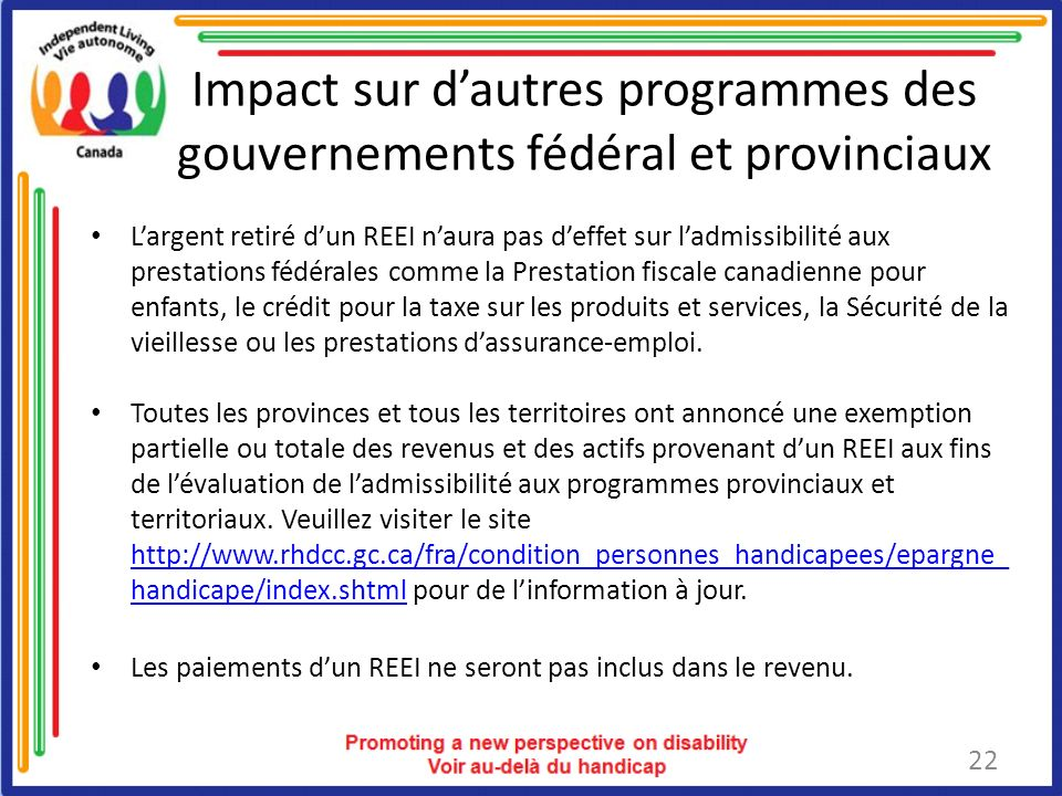 Impact sur d'autres programmes des gouvernements fédéral et provinciaux
