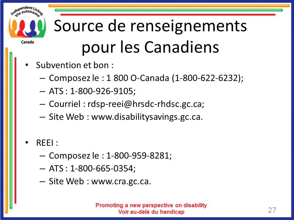 Source de renseignements pour les Canadiens