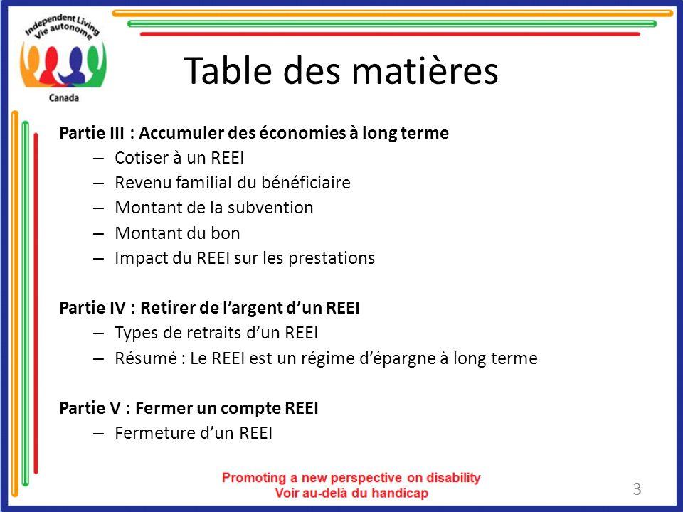 Table des matières Partie III : Accumuler des économies à long terme
