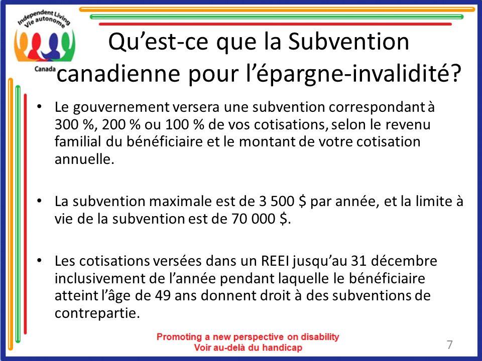 Qu'est-ce que la Subvention canadienne pour l'épargne-invalidité