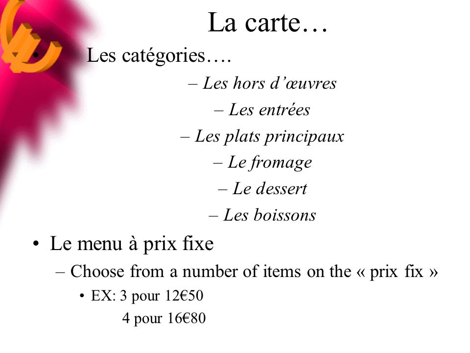 La carte… Les catégories…. Le menu à prix fixe Les hors d'œuvres