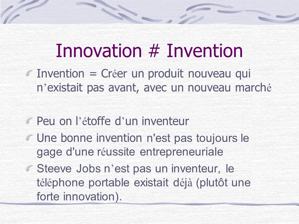 Innovation # Invention