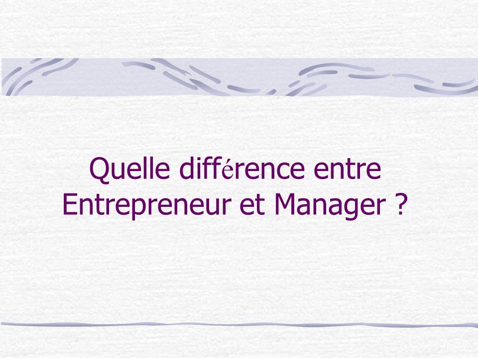 Quelle différence entre Entrepreneur et Manager