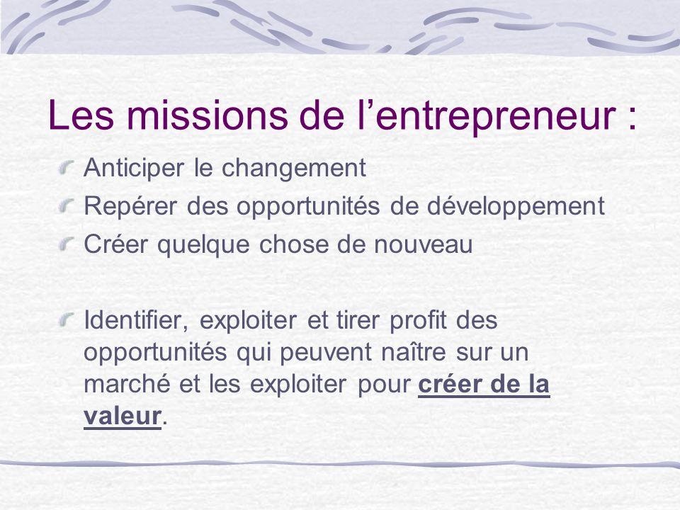 Les missions de l'entrepreneur :