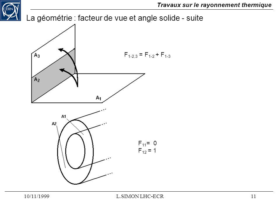 La géométrie : facteur de vue et angle solide - suite