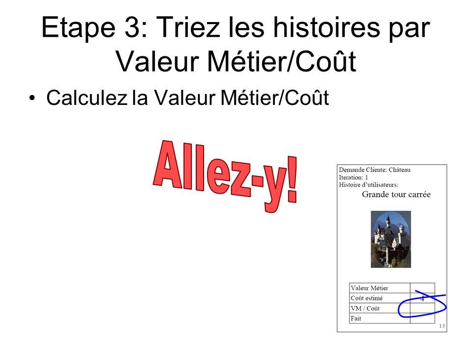 Etape 3: Triez les histoires par Valeur Métier/Coût