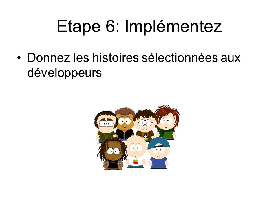 Etape 6: Implémentez Donnez les histoires sélectionnées aux développeurs